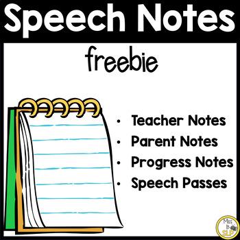 Speech Notes Freebie!