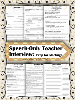 SPED Speech Only IEP Teacher Interview re: Student Support