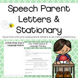Speech Parent Letters & Stationary
