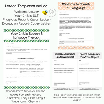 Speech Parent Letters & Stationary
