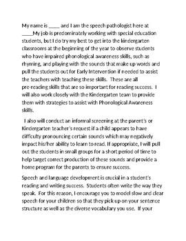 Speech Pathologist Kindergarten Orientation Speech to Parents