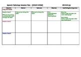 Speech Pathology Session Plan Template