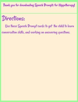 Speech Prompts for Hippotherapy