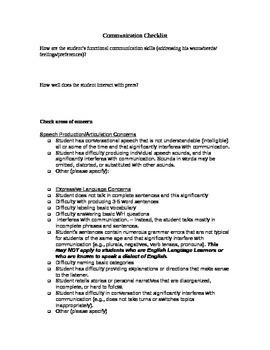 Speech RTI Initial Referral Check List