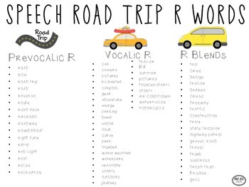 Speech Road Trip! R, S and L Words
