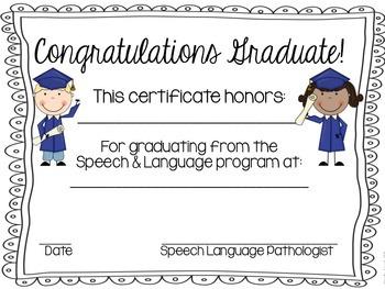 Speech Room Certificates!