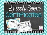 Speech Room Certificates!