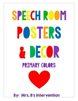 Speech Room Posters and Decor: Primary Colors