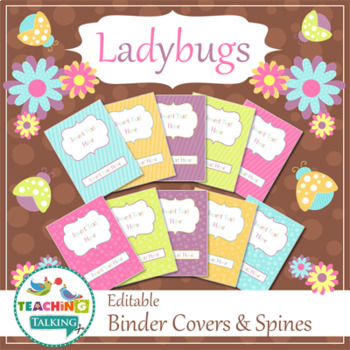 Speech Room Style - Editable Binder Covers / Spines (matches Ladybugs Theme)