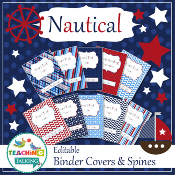 Speech Room Style - Editable Binder Covers / Spines (matches Nautical Theme)