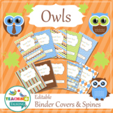 Speech Room Decor - Editable Binder Covers / Spines (matches Owl Theme)