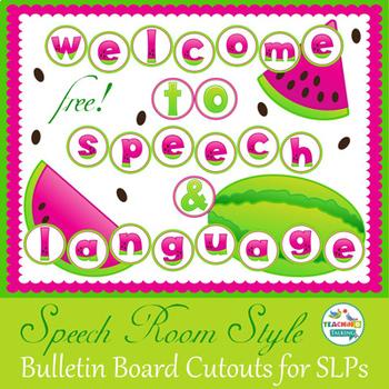 Speech Room Style (FREEBIE!) Bulletin Board Lettering & Cut Outs