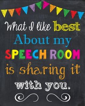 Speech Room Teacher Inspirational Sign Chalkboard Art Room Decor Poster