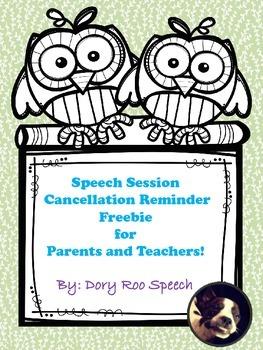 Speech Session Cancellation Reminder {Freebie}