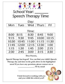 Speech Schedule Parents Letter (15 mins)