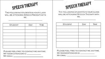 Speech Schedule for Teachers