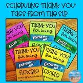 "Speech Scheduling 'Thank you"" tags for Teachers"