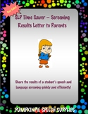 Speech Screening Results Letter