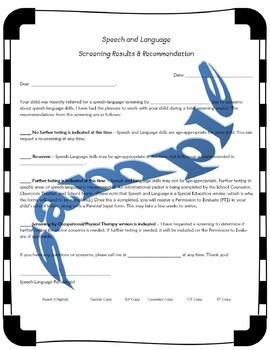 Speech Screening Results Letter - updated #jan2019slpmusthave