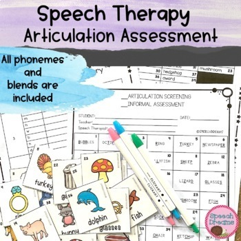 Articulation Screening Assessment {Phonemes and Blends Speech Therapy}