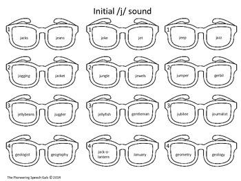 Speech Shades- Articulation Activity for /j, sh, ch/