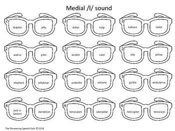 Speech Shades- Articulation Activity for /l/ and /l/ blends