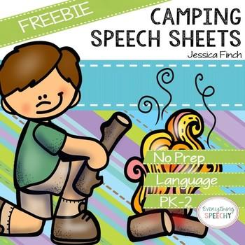 FREEBIE: Camping Speech Sheets