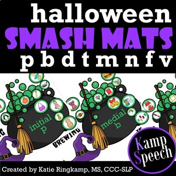 Halloween Speech Therapy - Play Dough Smash Mats Early Developing Sounds