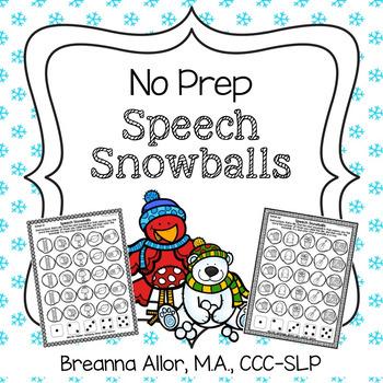 No Prep Speech Snowballs BUNDLE