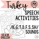Speech Sound Activities for Common Targets- Turkey Themed
