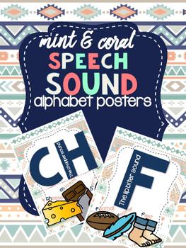 Speech Sound Alphabet Visuals - Mint & Coral