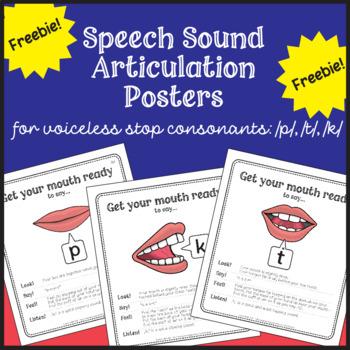 Speech Sound Articulation Posters Freebie