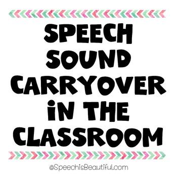 {FREEBIE} Speech Sound Carryover in the Classroom {s/z f/v k/g ch/j l/r and sh}