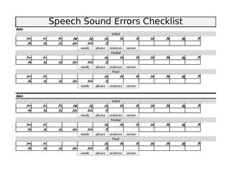 Speech Sound Checklist