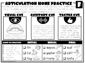 Speech Sound Homework and Handouts