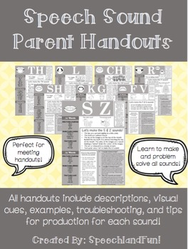 Speech Sound/Articulation Parent Handouts