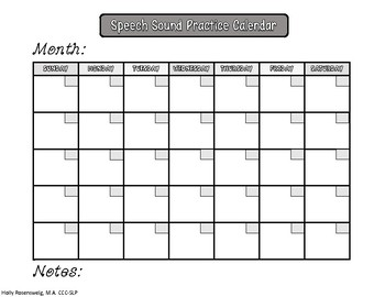 Speech Sound Practice Calendar