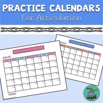 Speech Sound Practice Calendars for Articulation