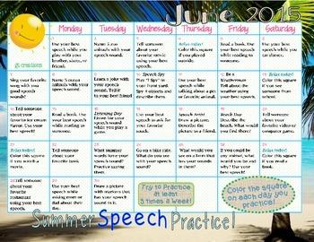 Speech Sound Practice ~ Summer Homework ~ 2015