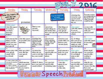 Speech Sound Practice ~ Summer Homework ~ 2016