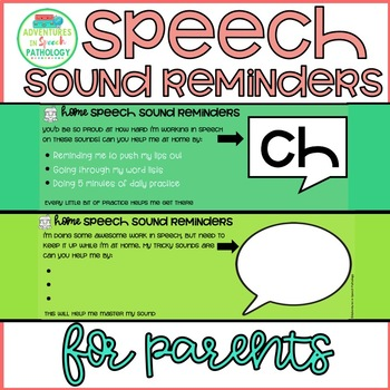 Speech Sound Reminders for Parents