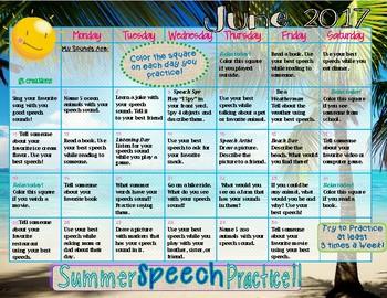 Speech Sound ~ Summer Homework Practice ~ 2017