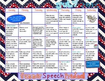 Speech Sound Summer Practice Calendar ~ 2015 ~ Elisha W