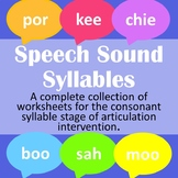 Speech Sound Syllables Bundle for Articulation Therapy