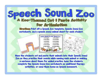 Speech Sound Zoo - A Cut & Paste Articulation Activity