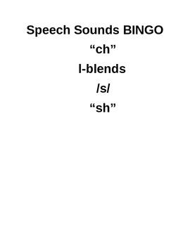Speech Sounds BINGO