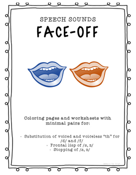 """Speech Sounds Face-Off! Minimal pairs activity for """"th"""", f"""