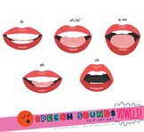 Speech Sounds Mouth Clip Art Set - SHORT VOWELS