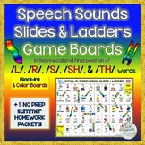 Summer Homework & Speech Sounds Slides & Ladders Games /L/, /R/, /S/, /SH/, /TH/