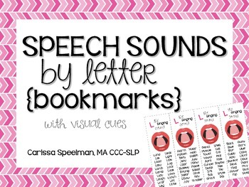 Speech Sounds by Letter: Bookmarks
